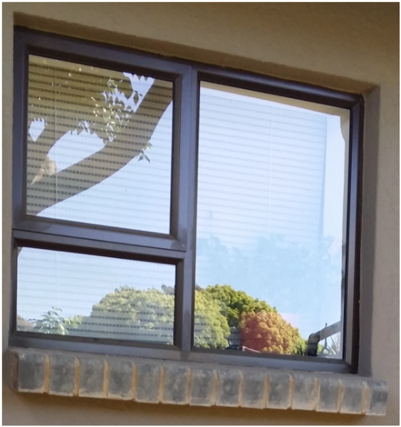 Bronze top hung window with 1 vent for