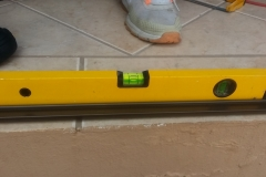 Spirit level being use during fitment