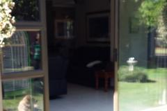 Bronze sliding door and sidelight