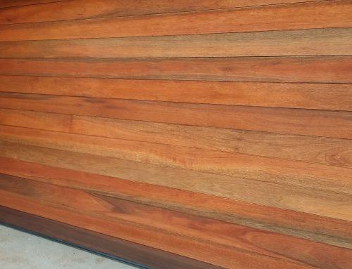 Supply and fit horizontally slatted wooden meranti garage door